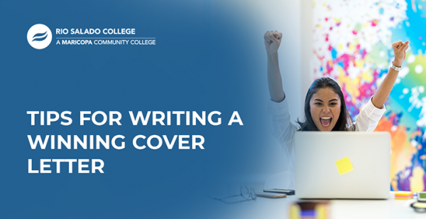 woman looking at a laptop screen with text: Tips for writing a winning cover letter