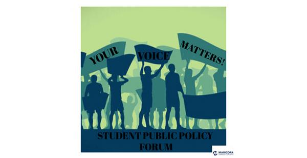 Drawing of students holding signs that read Your Voice Matters Student Public Policy Forum