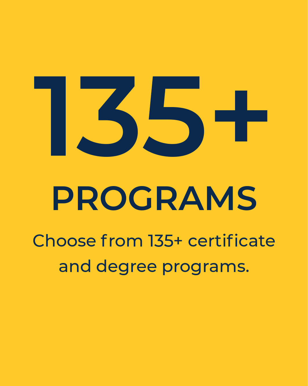 135+ certificate and degree programs