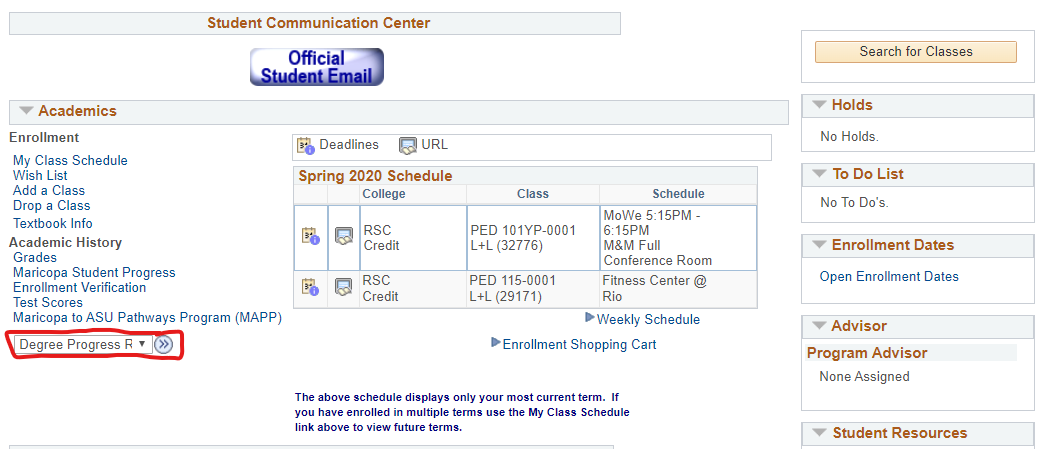 Student Center Screenshot