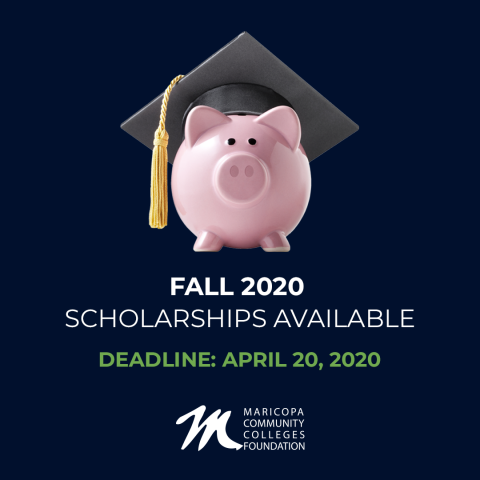 """Graphic shows a piggy bank with a graduation cap on it's head. Type reads, """"Fall 2020"""""""