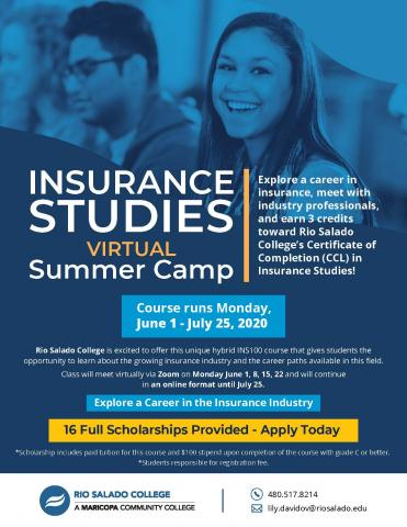 """Graphic shows two students with text reading, """"Insurance studies"""""""