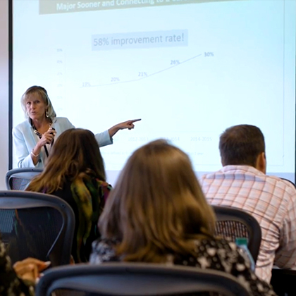 Photo of Smith at front of a classroom presenting student data to staff