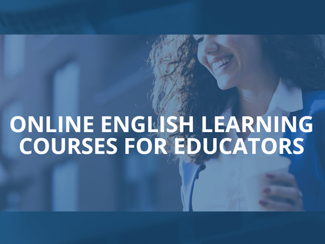 Snapshot of web page for OEL course. Image of a young woman smiling.  Text: Online English Courses for Educators