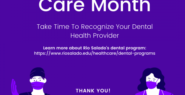 "Graphics shows two health professionals and reads, ""National Dental care month"""